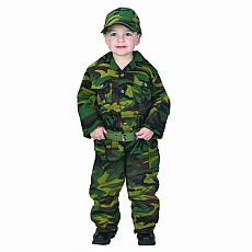 Green Jr. Camouflage Suit With Cap, Child Size 8-10