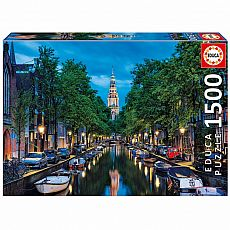 Amsterdam Canal at Dusk 1500-pc Jigsaw Puzzle