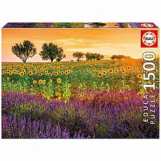Fields of Sunflowers and Lavender 1500-pc Jigsaw Puzzle