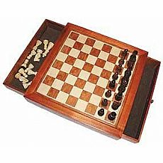 Magnetic Wood Chess with Storage