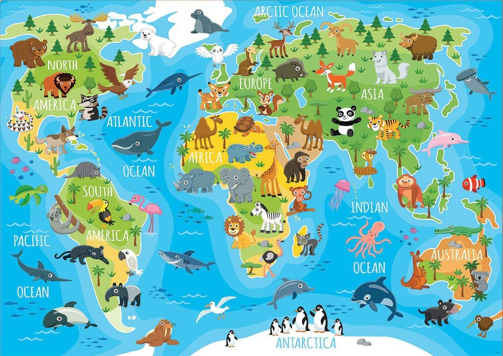 Animals World Map 150-pc Jigsaw Puzzle, from John N ...