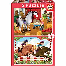 Horse Grooming 48-pc Jigsaw Puzzle 2-pack