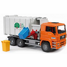 MAN Side loading garbage truck orange