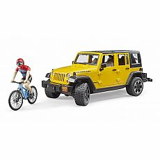 Jeep Wrangler Rubicon with Mountain Bike and Cyclist