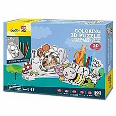 Coloring 3D Puzzle 22pc - Honeybee Pen Holder with 5 Pens