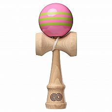 Kaizen Kendama - Pink with Lime Green Triple Stripe - Gloss