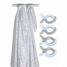 Lulujo Two-Pack Swaddles & Clips - Blue - 47x47""